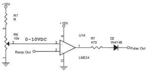 rangkaian komparator,mengubah ramp menjadi pulsa,converter ramp ke pulsa