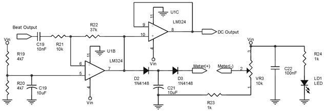 Blok Rangkaian VU Meter Untuk Detektor Logam Dengan Metode Beat Frequency