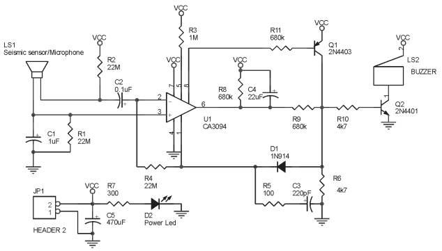 Rangkaian Detektor Getaran Untuk Keamanan Rumah