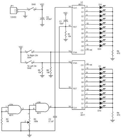Rangkaian Lengkap Running LED