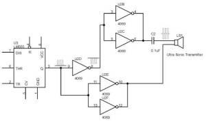 Pembalikan Fasa dengan Gate 4069 Sebagai Driver Transmitter  Ultra Sonic