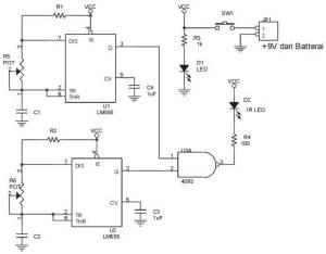 Rangkaian Pemancar Infra Merah Termodulasi,rangkaian remote control motor