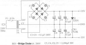 Rangkaian Power Supply Amplifier