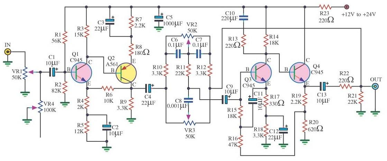 Rangkaian Tone Control 4 TR