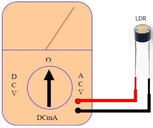 skema pengukuran LDR,Skema Mengukur Sensor LDR