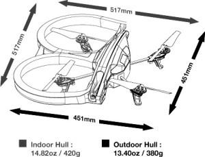 Spesifikasi AR. Drone,dimensi AR. Drone,ukuran AR. Drone