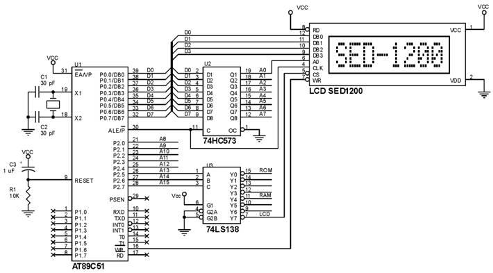 Hubungan SED1200 ke AT89C51