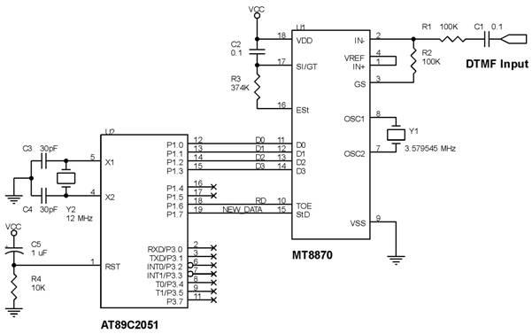 Rangkaian penerima DTMF dengan MT8870