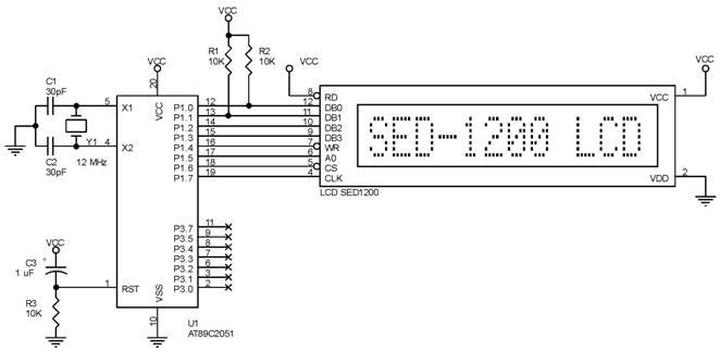 Hubungan SED1200 ke AT89C2051,interface lcd epson sed1200,program lcd epson sed1200,rangkaian lcd epson sed1200,mikrokontroler dan lcd epson sed1200,hubungan lcd epson sed1200,seting lcd epson sed1200,konfigurasi lcd epson sed1200,sinyal pada lcd epson sed1200,perintah untuk lcd epson sed1200