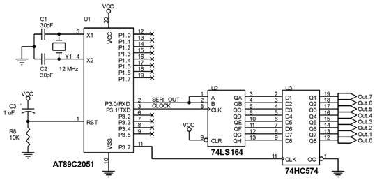 Penambahan Port Output 8 bit dengan 74LS164