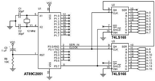 Penambahan Port Input 16 bit dengan 74LS165