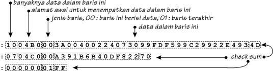 Anatomi baris-baris dalam file format HEX