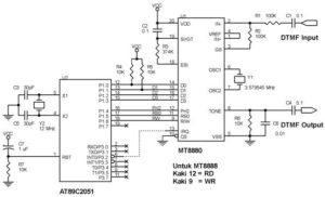 Rangkaian penerima/pengirim DTMF dengan MT8880