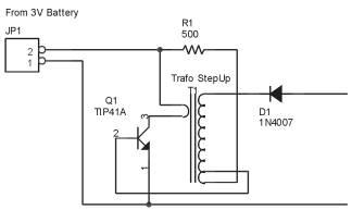 Rangkaian Konverter Tegangan dengan 1 Transistor