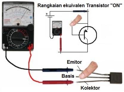 Menentukan kaki kolektor dan emitor transistor PNP