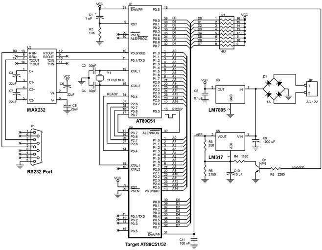 Skema Rangkaian AT89C51/52 PEROM Programmer,Atmel 40 pin MCS51 Flash PEROM Programmer
