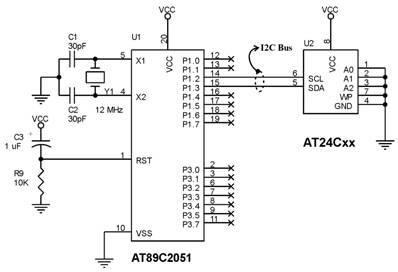 Menambah Serial EEPROM pada AT89C2051,SEEPROM AT24Cxx dalam rangkaian AT89C2051